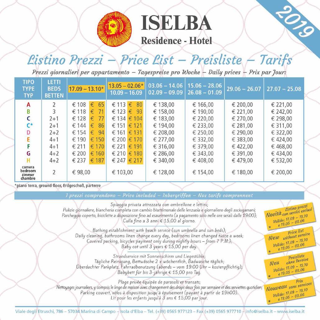 Residence Iselba - listino prezzi